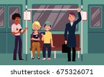 people in subway train car ... | Shutterstock .eps vector #675326071