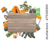 vector camping concept with... | Shutterstock .eps vector #675330304