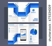 tri fold leaflet  brochure with ... | Shutterstock .eps vector #675334009