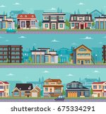 seamless cityscape template... | Shutterstock .eps vector #675334291