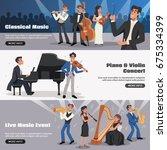 three horizontal musician... | Shutterstock .eps vector #675334399