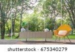 modern living room in the glass ... | Shutterstock . vector #675340279