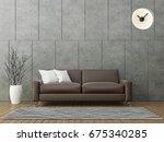 modern loft living with brown... | Shutterstock . vector #675340285