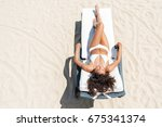relaxed youthful african woman...   Shutterstock . vector #675341374
