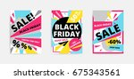 flat design black friday sale... | Shutterstock .eps vector #675343561