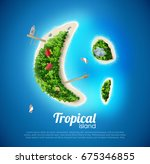 tropical island top view sea... | Shutterstock .eps vector #675346855