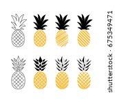 set of different pineapples.... | Shutterstock .eps vector #675349471