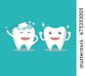 tooth characters  smiling tooth | Shutterstock .eps vector #675353005