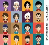 set of people icons with faces | Shutterstock .eps vector #675356854