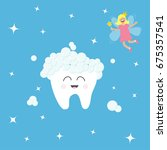 tooth icon. tooth fairy flying... | Shutterstock . vector #675357541