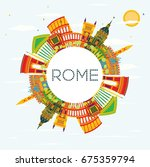 rome skyline with color... | Shutterstock .eps vector #675359794