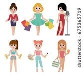 set of women icons in flat... | Shutterstock .eps vector #675365719