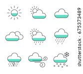 set of weather line icon. line...