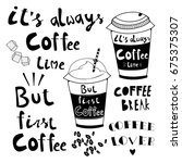 hand drawn doodle coffee cups.... | Shutterstock .eps vector #675375307