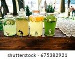 catering. drinks on wedding... | Shutterstock . vector #675382921