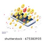 isometric concept with mobile... | Shutterstock .eps vector #675383935