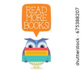 owl peep with books in white...   Shutterstock .eps vector #675388207