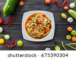 papaya salad with shrimp ... | Shutterstock . vector #675390304