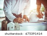 architect man and engineer... | Shutterstock . vector #675391414