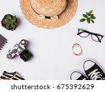 straw hat  sneakers  vintage... | Shutterstock . vector #675392629