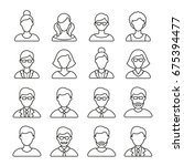 people icons  thin monochrome... | Shutterstock .eps vector #675394477