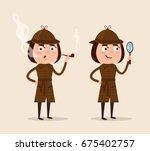 smiling detective woman... | Shutterstock .eps vector #675402757