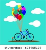 bicycle with colorful balloons  ... | Shutterstock .eps vector #675405139
