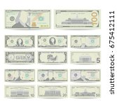Stock vector dollars banknote set vector cartoon us currency two sides of american money bill isolated 675412111