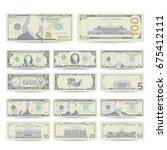 dollars bill banknote set... | Shutterstock .eps vector #675412111