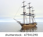 ship in the sea with no sails | Shutterstock . vector #67541290