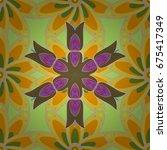 flat flowers seamless pattern.... | Shutterstock . vector #675417349