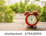 red retro 9 o'clock and morning ... | Shutterstock . vector #675418594