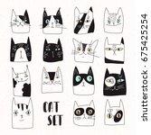 cat set   Shutterstock .eps vector #675425254