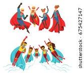happy family of superheroes set.... | Shutterstock .eps vector #675427147