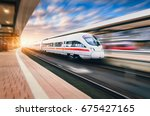 white modern high speed train... | Shutterstock . vector #675427165
