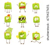 cute green funny humanized... | Shutterstock .eps vector #675427651