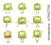 cute green humanized purse with ... | Shutterstock .eps vector #675427705