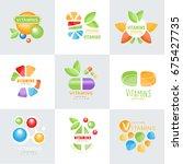vitamins logo set original... | Shutterstock .eps vector #675427735