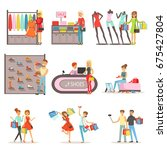 people shopping and buying... | Shutterstock .eps vector #675427804