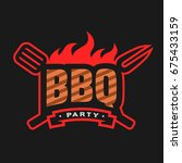 barbecue party logo  emblem  on ... | Shutterstock .eps vector #675433159