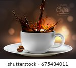 coffee advertising design  with ... | Shutterstock .eps vector #675434011