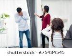 frustrated of little girl is...   Shutterstock . vector #675434545