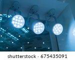 led light on mall roof. | Shutterstock . vector #675435091