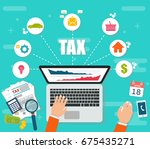 state taxes. tax payment.... | Shutterstock .eps vector #675435271