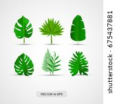 realistic tropical leaves set ... | Shutterstock .eps vector #675437881