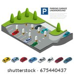 underground parking with cars.... | Shutterstock .eps vector #675440437