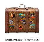 old suitcase travel stickers... | Shutterstock . vector #67544215