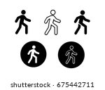 walking icons black and white | Shutterstock .eps vector #675442711
