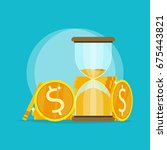 hourglass gold coin time money... | Shutterstock .eps vector #675443821