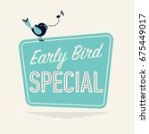 Stock vector retro looking vector minimalistic concept on early bird special special discount or sale event 675449017